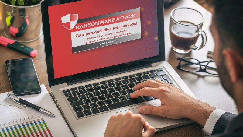 Ransomware alert message on a laptop screen