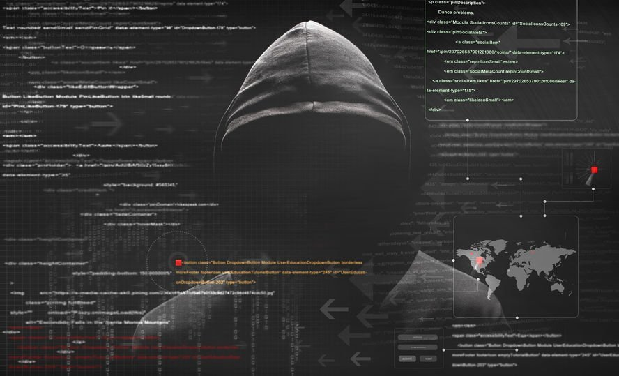 Image of a hacker with code overlayed